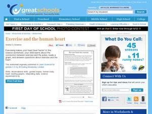 Exercise and the Human Heart Worksheet