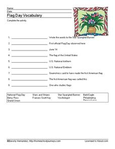 Flag Day Vocabulary Worksheet