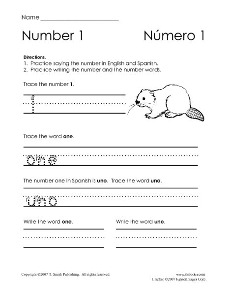 Numbers in English and Spanish!; Worksheet for Pre-K ...