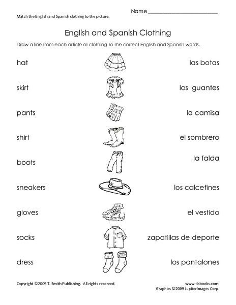 english and spanish clothing worksheet for 2nd 5th grade. Black Bedroom Furniture Sets. Home Design Ideas