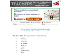 Flag Day Spelling Worksheet Worksheet