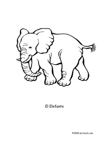 Color Me: The Elephant  Worksheet