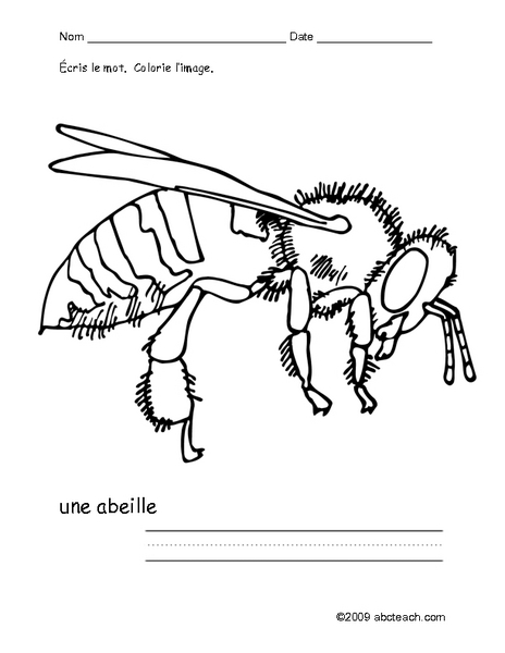 Color Me: Une Abeille Worksheet