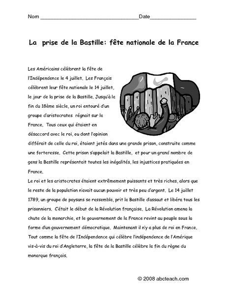 la prise de la bastille f te national de la france graphic organizer for 10th 12th grade. Black Bedroom Furniture Sets. Home Design Ideas