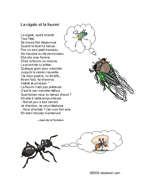 Le cigale et la fourmi Worksheet