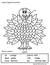 Color Me: Thanksgiving Turkey  Worksheet