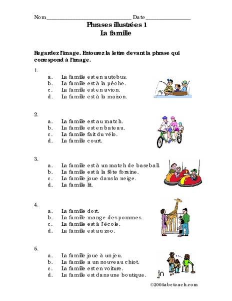 phrases illustr es 1 la famille worksheet for 6th 7th grade lesson planet. Black Bedroom Furniture Sets. Home Design Ideas