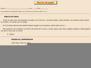 Barcos de papel Worksheet