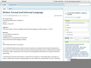 Diction: Formal and Informal Language Lesson Plan