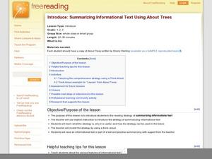 Introduce: Summarizing Informational Text Using About Trees Lesson Plan