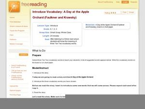 Introduce Vocabulary: A Day at the Apple Orchard (Faulkner and Krawsky) Lesson Plan
