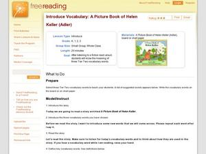 Introduce Vocabulary: A Picture Book of Helen Keller (Adler) Lesson Plan