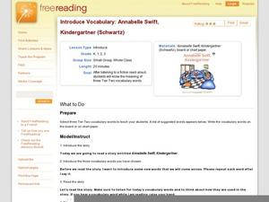 Introduce Vocabulary: Annabelle Swift, Kindergartner (Schwartz) Lesson Plan