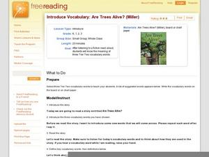 Introduce Vocabulary: Are Trees Alive? (Miller) Lesson Plan