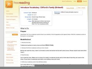 Introduce Vocabulary: Clifford's Family (Bridwell) Lesson Plan