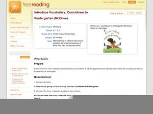 Introduce Vocabulary: Countdown to Kindergarten (McGhee) Lesson Plan