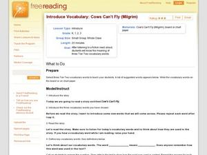 Introduce Vocabulary: Cows Can't Fly (Milgrim) Lesson Plan