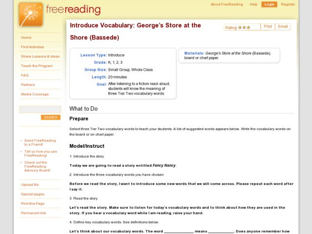 Introduce Vocabulary: George's Store at the Shore (Bassede) Lesson Plan