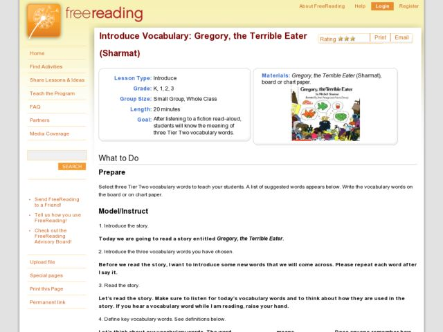 Introduce Vocabulary: Gregory, the Terrible Eater (Sharmat) Lesson Plan