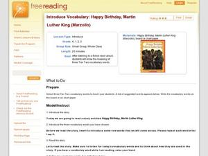 Introduce Vocabulary: Happy Birthday, Martin Luther King (Marzollo) Lesson Plan