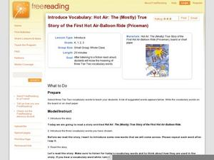 Introduce Vocabulary: Hot Air: The (Mostly) True Story of the First Hot-Air Balloon Ride (Priceman) Lesson Plan