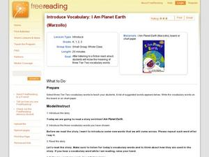 Introduce Vocabulary: I Am Planet Earth (Marzollo) Lesson Plan