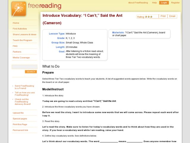 "Introduce Vocabulary: ""I Can't,"" Said the Ant (Cameron) Lesson Plan"