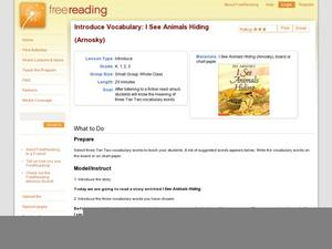 Introduce Vocabulary: I See Animals Hiding (Arnosky) Lesson Plan