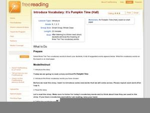 Introduce Vocabulary: It's Pumpkin Time (Hall) Lesson Plan