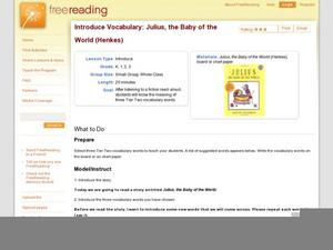 Introduce Vocabulary: Julius, the Baby of the World (Henkes) Lesson Plan