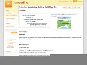 Introduce Vocabulary: Letting Swift River Go (Yolen) Lesson Plan