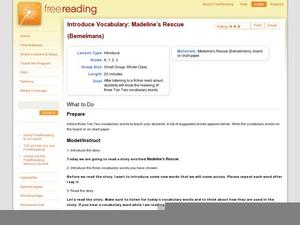 Introduce Vocabulary: Madeline's Rescue (Behelmans) Lesson Plan
