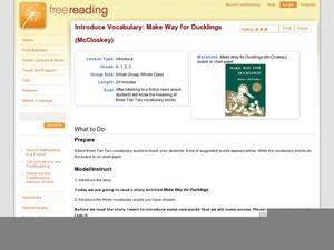 Introduce Vocabulary: Make Way for Ducklings (McCloskey) Lesson Plan