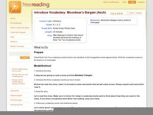 Introduce Vocabulary: Moonbear's Bargain (Asch) Lesson Plan
