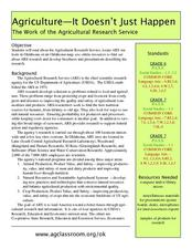 Agriculture: It Doesn't Just Happen Lesson Plan