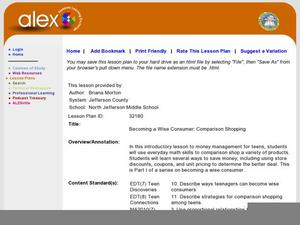 Consumer Math Lesson Plans & Worksheets Reviewed by Teachers