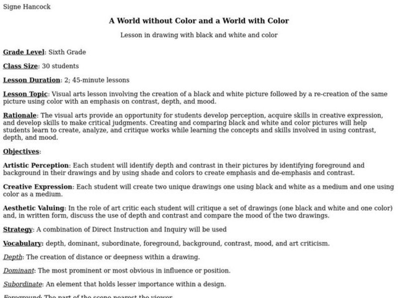 A World Without Color And A World With Color Lesson Plan