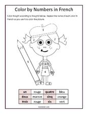 Color by Numbers in French  Worksheet