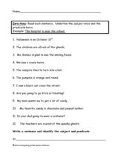 Subject/ Predicate  Worksheet