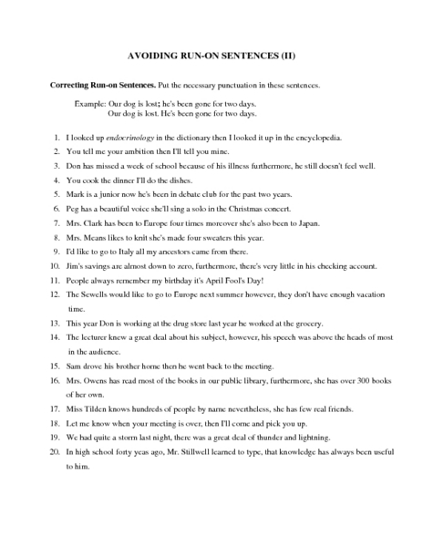 avoiding run on sentences ii worksheet for 6th 9th grade lesson planet. Black Bedroom Furniture Sets. Home Design Ideas