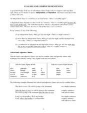 Clauses and Compound Sentences  Worksheet