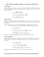 direct objects indirect objects and subject complements worksheet for 8th 12th grade. Black Bedroom Furniture Sets. Home Design Ideas