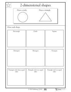 2-Dimensional Shapes: Drawing Shapes Worksheet