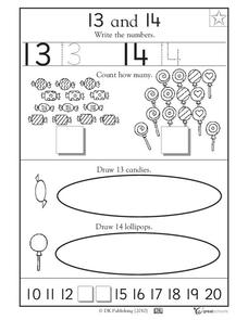 Learning 13 and 14 - Write the Numbers Worksheet for Pre-K ...