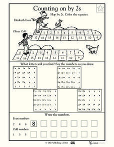 Hopping by 2s, part 2 Worksheet