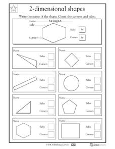 2-Dimensional Shapes: Looking at Shapes Worksheet
