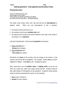 Interrogatives and Auxiliary Verbs Worksheet
