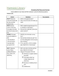 Evaluating Websites Worksheet Printables & Template for 6th - 12th ...