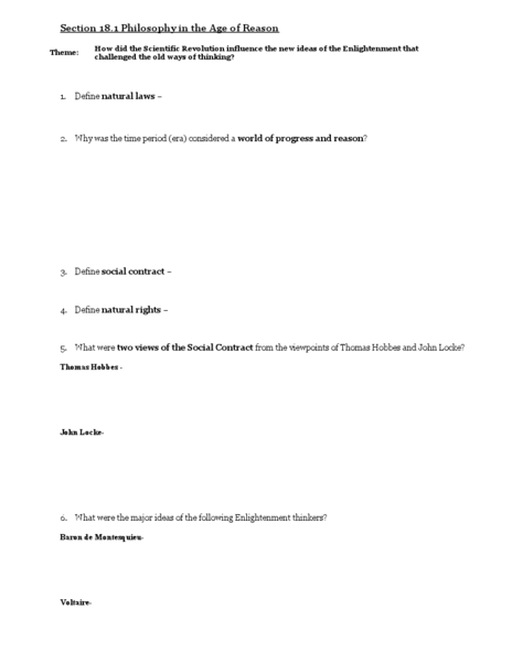 Philosophy in the Age of Reason Worksheet