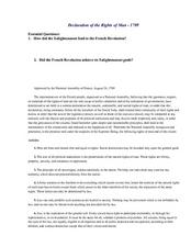 Declaration of the Rights of Man: 1789 Worksheet